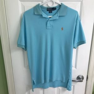 Blue short sleeve men's polo shirt size small
